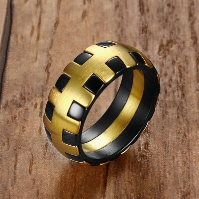 Men Rings Stainless Steel Dome Wedding Bands Trendy Hiphop Style Male Fashion Jewelry Black Gold Color anel masculino bague