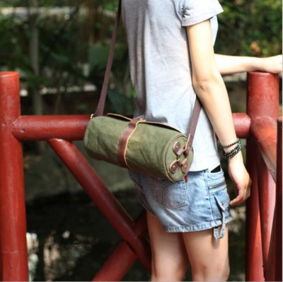 Vintage Girls Boys Unisex Couple Style Canvas Match Crazy Horse Leather Men Women Barrel Shaped Small Canvas Messenger Bag