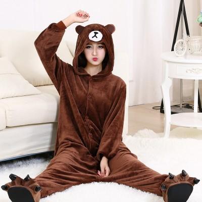Kigurumi Bear Onesie Slippers Women Men Adult Animal Cartoon Brown Pajama Funny Festival Party Fancy Suit Zipper Button Overalls