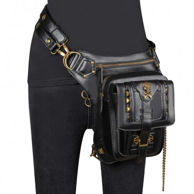 Steampunk PU Leather Waist Bag Vintage Gothic Multifunction Outdoor Waist Leg Bag