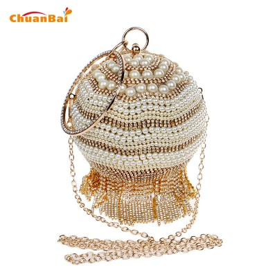 Women Makeup Bag Evening Bag Tassel Women Handbags With Handle Round Beaded Day Clutches Diamonds Pearl Evening Clutch Bags 262