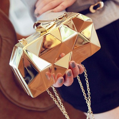 2017 new fashion geometric three-dimensional metal chain ladies handbag evening bag day clutches mini purse wedding party bag
