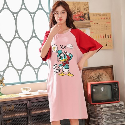 2019 Summer Womens Short Cotton Pijamas Home Cloth Nightshirt Women Causal Sleepwear Loose Ladies Nightgown Women Dress