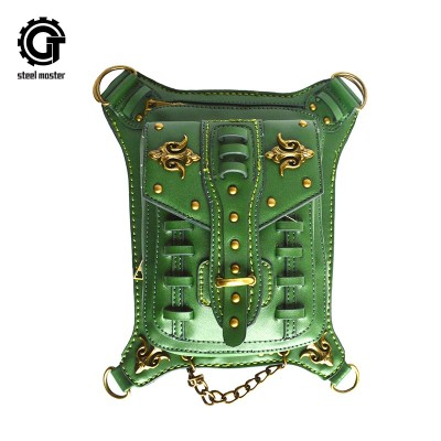 Green Steampunk Mens Steel Mini Pocket Handbag PU Leather Shoulder Bag Crotch Thigh Bag Army Green Wallet Steampunk Leg Thigh Bag