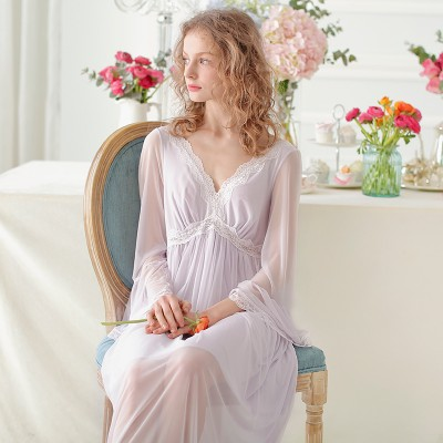 Lace Nightgown Women Sleepwear Spring Summer Sexy Royal Night Dress Long Sleeve Nightgown Modal Sleepwear Soft Comfortable