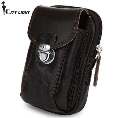 Classic Dark Coffee 100% Genuine Leather fanny pack Waist Packs Mobile Phone Bag multi-function small bag purse key wallets