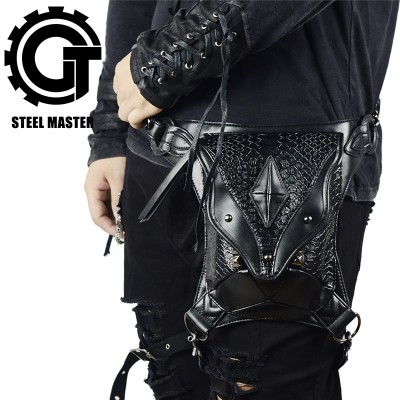 Black Steampunk Leg Bag for Women Men Messenger Shoulder Bags mini backpack Vintage Waist Bag Holster Wallet Purse Pouch SteamPunk Thigh Bags