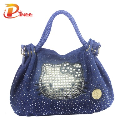 Rhinestone Handbags Designer Denim Handbags Women Famous Brands Kitty Shoulder Bag With Crystal Diamonds Ladies Purse