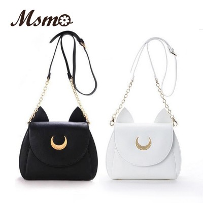 2019 WhiteBlack Sailor Moon LunaArtemis Shoulder Bag Ladies Luna Cat Leather Handbag Women Messenger Crossbody Chain Small Bag
