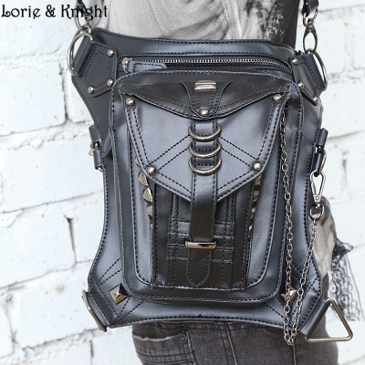 WomenMen Black Leather Steampunk Leg Thigh Hip Holster Wallet Purse Pouch Mini Waist PacksMessenger Bag
