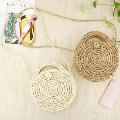 Round Paper rope Beach Bag Summer mini Vintage Handmade Crossbody straw Bag Girls Circle Rattan bag Small Shoulder