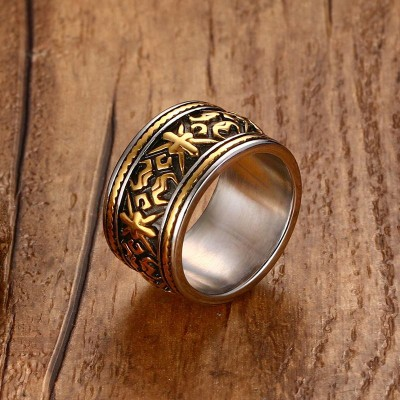 Mens Rings Punk Rock Vintage Gothic Totem Shape Design Stainless Steel Ring Men Wide Tri Color Fashion Jewelry anel masculino