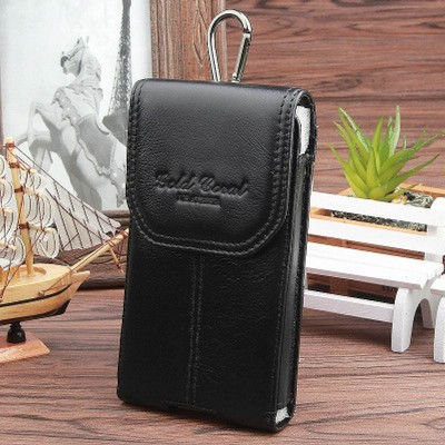 Leather Fanny Pack 100% Cowhide Male Waist Bags Vintage Black Fanny Pack Pouch Belt Bag Cell Phone Bag