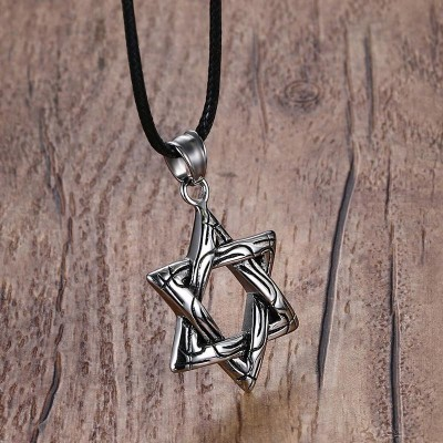 Mprainbow Mens Necklaces Stainless Steel Star of David Pendants Choker Necklace for Men Black Rope Chain Vintage  Jewelry 2019
