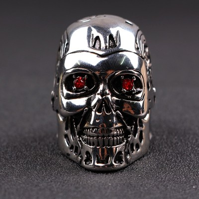 RJ Game Film Terminator Mask Skull Cool Men Rings Retro High Quality Steampunk Biker Skeleton Red Crystal Ring Jewelry