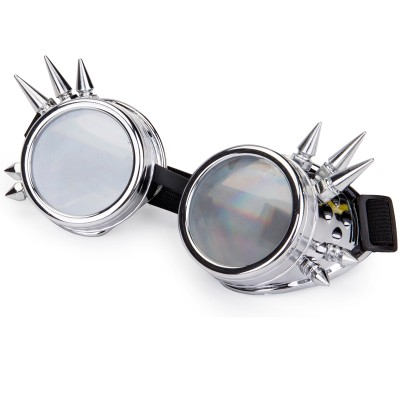 FLORATA Diffraction Lens Rivet Steampunk Goggles Rave Festival Party EDM Glasses Cosplay Punk Vintage Eyewear