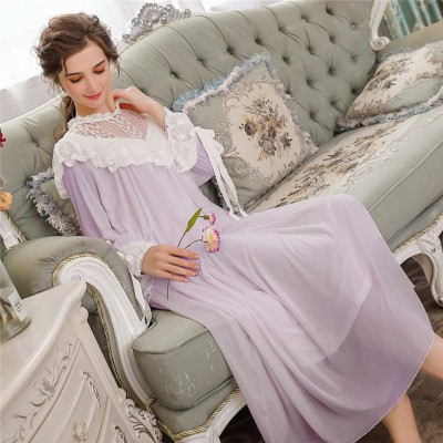 Victorian Wedding Dress For Women Autumn Sleepwear Long Sleeve Pink Lace Nightgown Cotton Nightwear White Nightdress Female