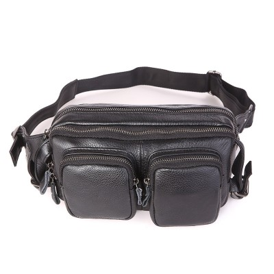 New genuine cow leather men's multifunction travel bags chest pack men waist packs hiqh quality men waist bag 7352