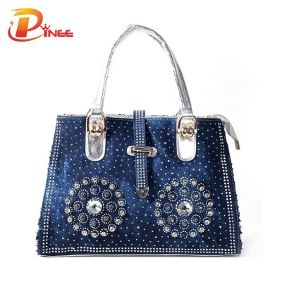 Rhinestone Handbags Designer Denim Handbags casual women handbag 2017 fashion designer denim jean shoulder bags for ladies