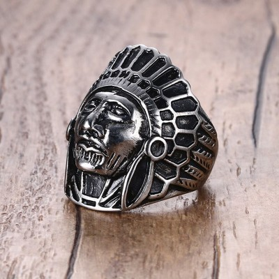 Indian Chief Headdress War Bonnet Black Oxidized Stainless Steel Ring Men Vintage anillos hombre anel