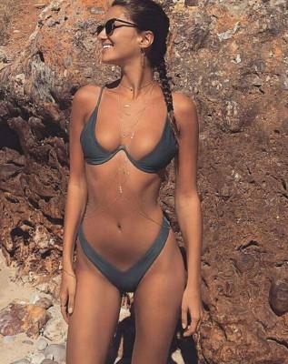 2021 New high cut thong bathing suit high waist swimsuit Solid swimwear women Brazilian Biquini swim beach micro bikini set