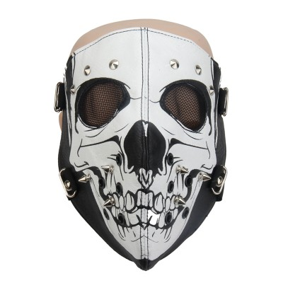 Plague Mask Steampunk Plague Doctor Mask PU Leather Skull Full Face Mask Punk Motorcycle Biker Cosplay Mask Breathable Anti-Dust Sports Women Men Hip Hop Rivets Mask