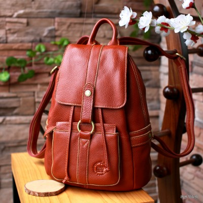 2017 New Style Leather Ms. retro College Wind Backpack