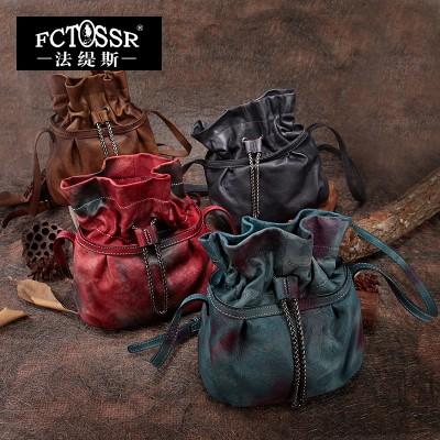 2019 women handbag handmade vintage cowhide bucket bag messenger bag genuine leather handbag women