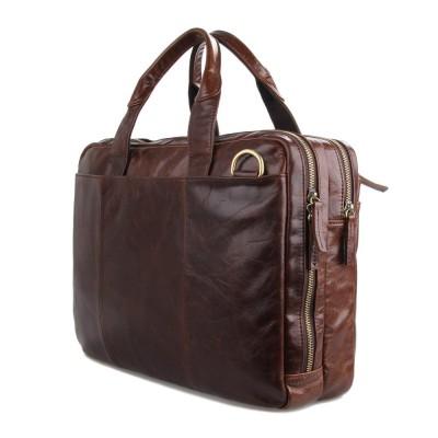 New 2015 Men  Crazy Horse Leather Portfolio Laptop Bag men High quality Leather Briefcase Messenger Shoulder Handbag Briefcase