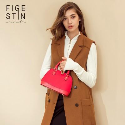 FIGESTIN Women Bag Leather Shell-shaped Original Design Candy Color Bag Green Top Zipper Small Women Handbags Crossbody Bag