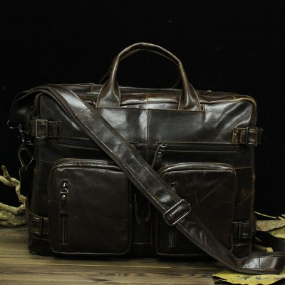 Men Promotion High Quality Vintage Real Genuine Cow Leather Briefcase Bag 15 Inch Laptop Messenger Solid Totes Bags