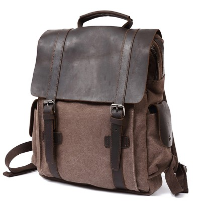 Men Canvas Backpack Canvas Rucksack Backpack Men Vintage Genuine Leather Backpack Men