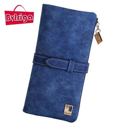 BVLRIGA Retro nubuck leather wallet women card holder long women Purse bag dollar price casual clutch bag fashion cion pocket
