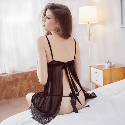 Inplusni women nightgown fashion top quality sleepwear lady big yards lace nightgown split with sexy nightdress women pyjama