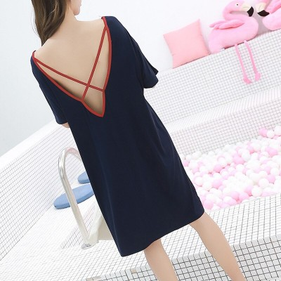 2019 summer dresses women sexy backless nightdress loose knee-length outfits nightgowns sleepshirts home wear sleepdress