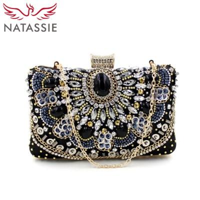 NATASSIE Women Small Black Clutch Bags New Vintage Bag Ladies Evening Clutches Purses Designer Handbags High Quality