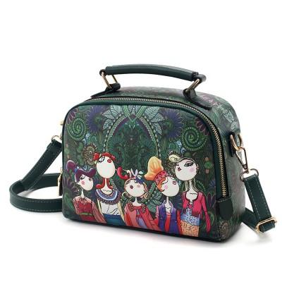 2019 Hot Fashion Saddle Floral Flap Cover Bags Leather PU Cartoon Printed Womens Handbags Messenger Bags Totes Bolsa Feminina