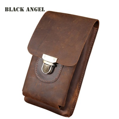 Leather Fanny Pack Vintage Genuine Leather waist pack bag cowhide leather men casual phone bag small fanny belt bag