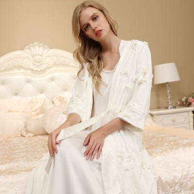 Elegant Robe Sleepwear Women Nightgown Set For Female Bathrobe European Nightwear Ladies Two-piece Robe Suit High quality