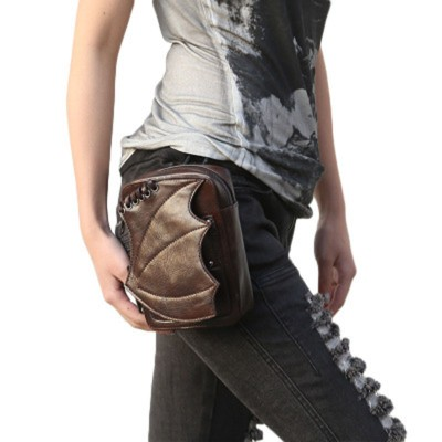 Gothic Steampunk Handbags Leather Waist Bag Women Bat wing Design Leg Bag Brown Waist Packs Punk Retro Crossbody Shoulder Bag