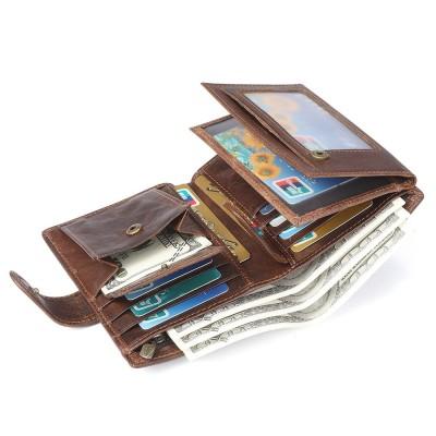 Crazy Horse Leather Men's Wallet Genuine Leather Men Business Wallet Men Card Id Holder Coin Purse Travel wallet For Man