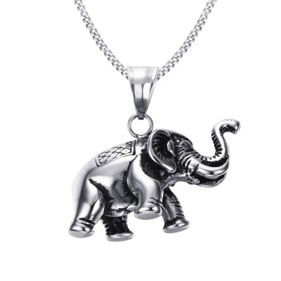 Mens Small Lucky Elephant Necklace in Silver color Stainless Steel Pendant Charms Jewelry Animal Lovers Free 24inch