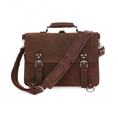 Rare Crazy Horse Leather Mens Brown Business Briefcase Laptop Totes Bag Dispatch Cross-body Shoulder Messenger Huge 16 inch