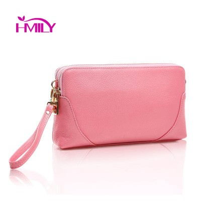Genuine Cow Leather Women Clutch Bag Sweet Style Mini Makeup Bag Large Capacity Party Package Trendy Small Outside Shopping Bag