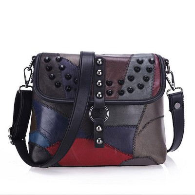 2017 New Genuine Leather Bag Rivet Patchwork Women Messenger Bags Crossbody Fashion Designer Handbags Shoulder Bag L037