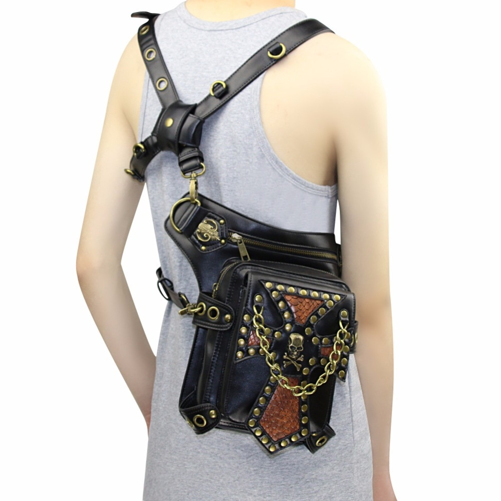 Black Steampunk Waist Bag Women Skull Rivet Crossbody Bag Men Motorcycle Drop leg Thigh Holster Bag Travel Pack Wallet Pouch Backpack SteamPunk Thigh Bag