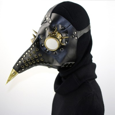 Black PU Leather Steampunk Mask Gothic Rock Punk Long Beak Bird Plague Doctor Cosplay Anime Accessories Halloween Party Masks