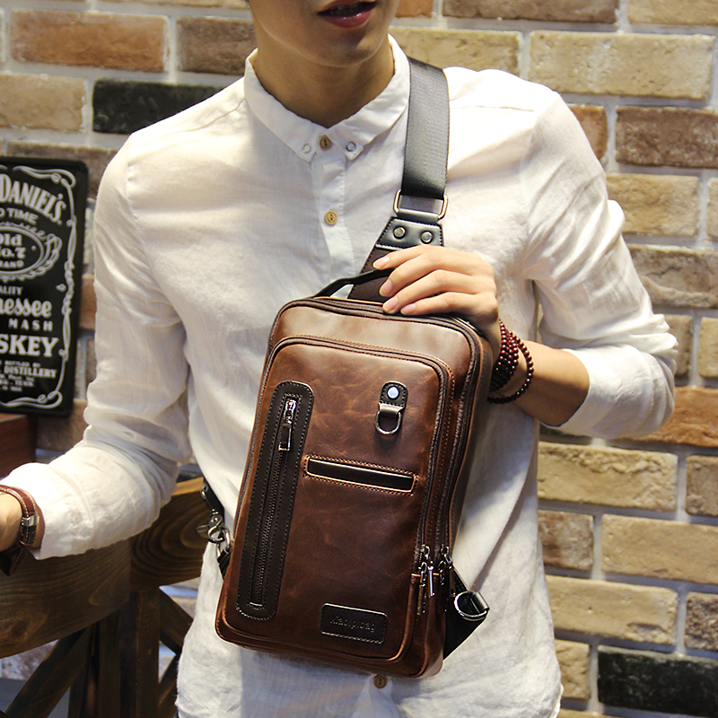 Color : Black, Size : M Mens Chest Bag Leather One Shoulder Slung Casual Leather Chest Bag