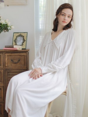 Nightgown Women Elegant Night Gowns White Long sleeve Nightgown Contract Sleepwear Ladies Comfortable Homewear Pregnant woman