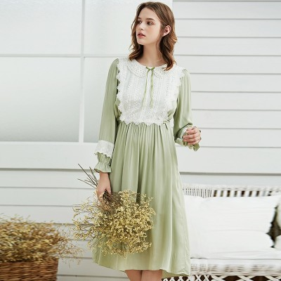 Women Nightown Velvet  Winter Homewear Elegant Sleepwear Gentlewoman Nightdress Nightgowns Green